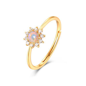 Opal Engagement Ring Diana Style Plain Silver Band